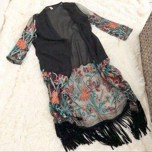 SHEIN Jackets & Coats - Embroidered Kimono - Shein